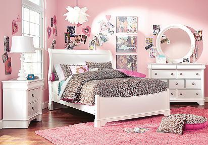 Oberon White 4 Pc Full Sleigh Bedroom