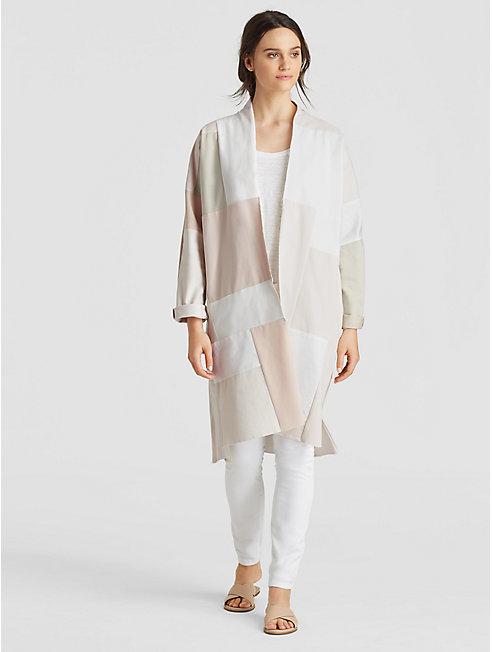 Exclusive Resewn Organic Cotton Stretch Kimono Coat