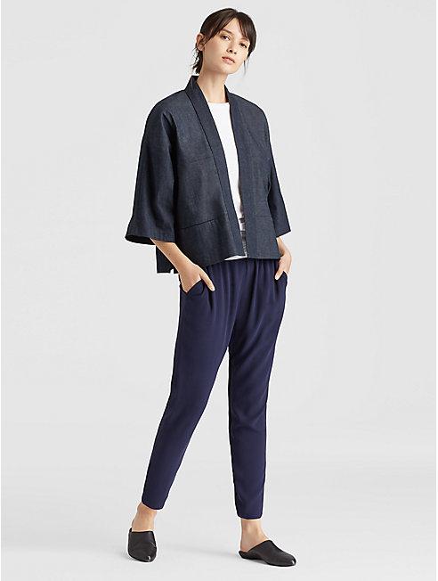 Resewn Denim-Blocked Short Kimono Jacket