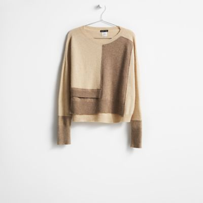 Resewn Two-Toned Cashmere Box-Top
