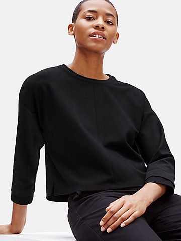 Resewn Rayon & Ponte Cropped Pullover