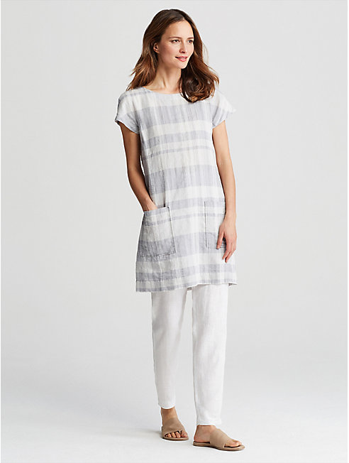 Organic Linen Cotton Plaid Dress
