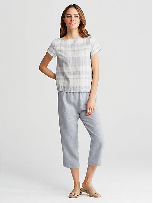 Organic Linen Cotton Plaid Top
