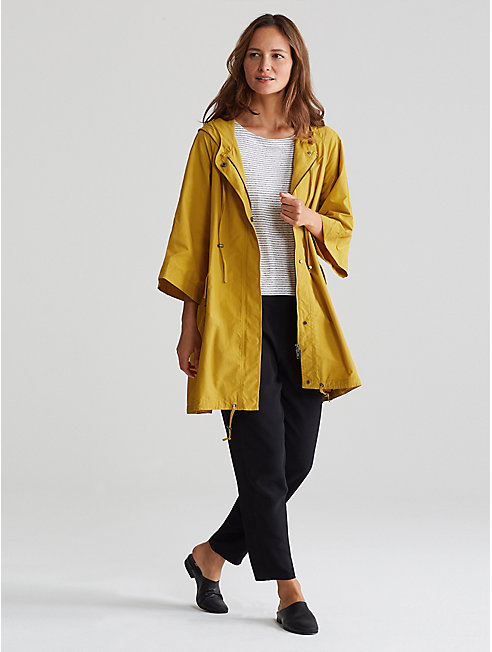 Organic Cotton Nylon Hooded Drawstring Jacket