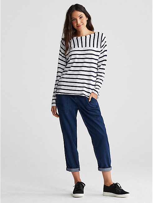 Organic Linen Cotton Slub Stripe Top