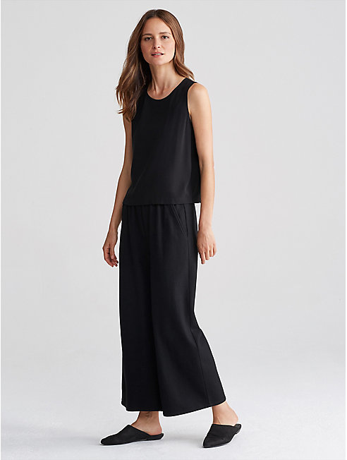 Boiled Wool Jersey Wide-Leg Pant