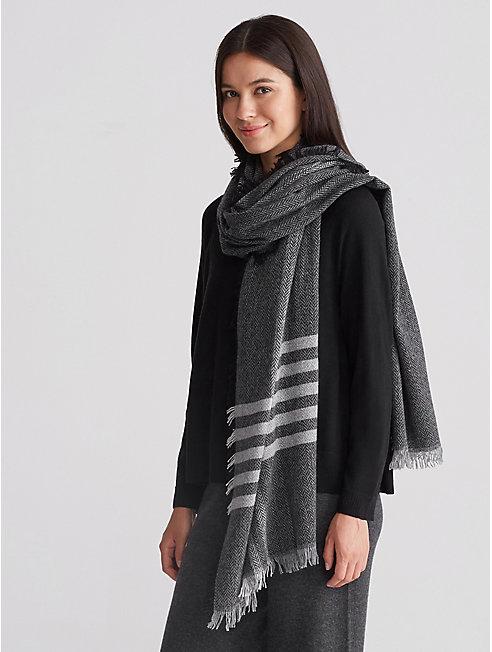 Wool Herringbone Stripe Scarf
