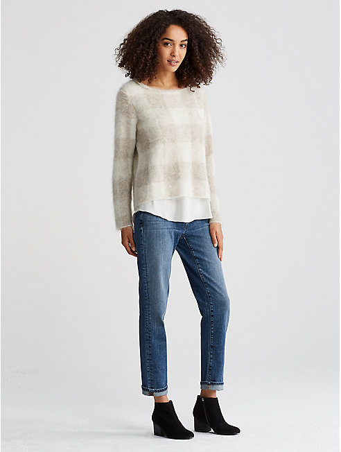 Brushed Alpaca Mohair Check Sweater