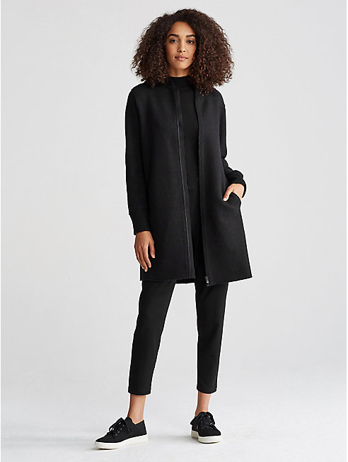 Boiled Wool Long Bomber Coat