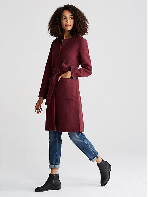 Brushed Wool Doubleface Long Belted Coat