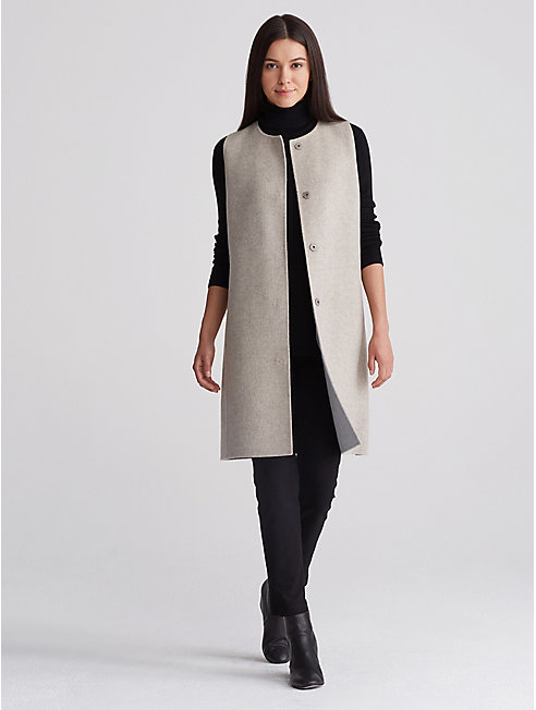 Brushed Wool Long Vest