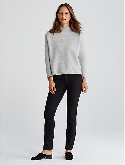 Cashmere Silk Bliss Funnel Neck Box-Top