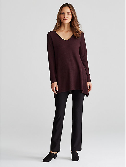Washable Wool Crepe V-Neck Top