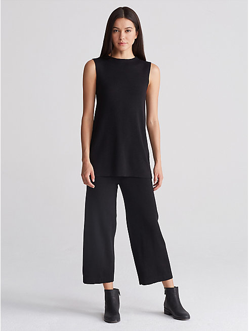 Washable Wool Crepe Wide-Leg Pant