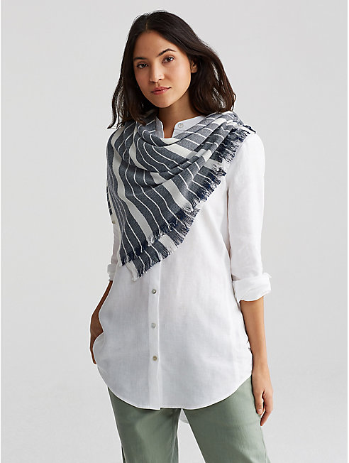 Organic Cotton Wool Diamond Stripe Scarf