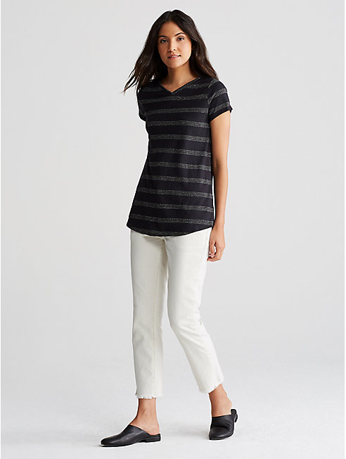 Hemp Organic Cotton Stripe V-Neck Tee