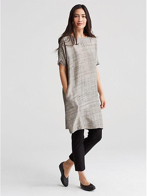 Hand-Painted Silk Crosshatch Dress