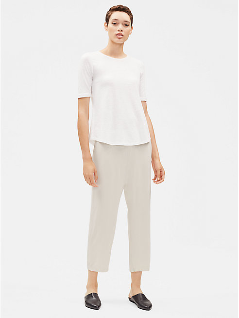 System Silk Georgette Straight Cropped Pant