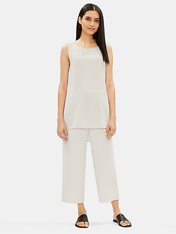 System Silk Georgette Crepe Cropped Pant