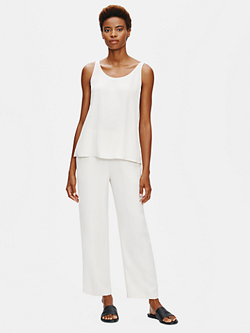 System Silk Georgette Straight Ankle Pant