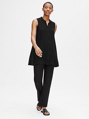 System Silk Georgette Crepe Mandarin Collar Shirt