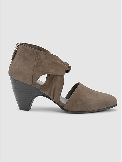 Mary Twist-Front Suede Pump
