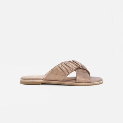 Cross Metallic Suede Sandal