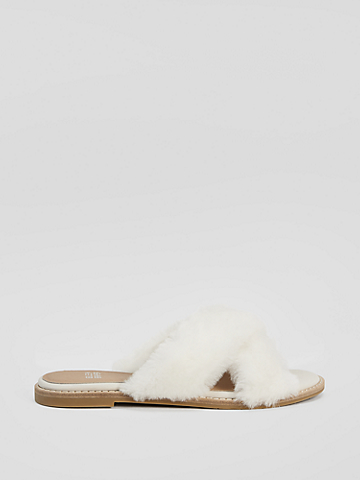 Cross Shearling Slipper