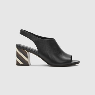Bobbie Italian Leather Slingback with Striped Heel