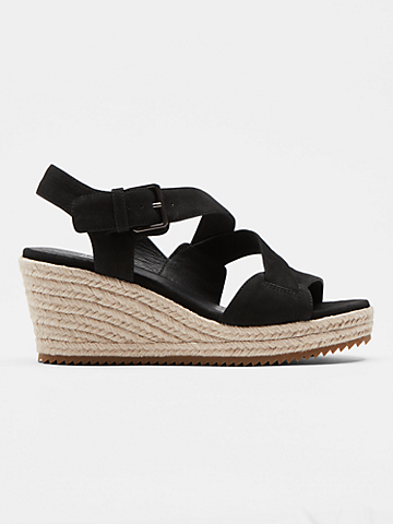 Beckon Tumbled Nubuck Espadrille Wedge