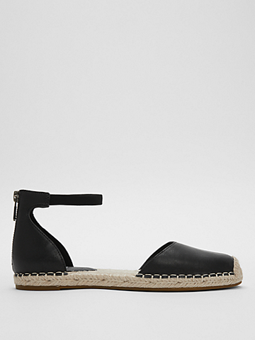 Lala Tumbled Leather Espadrille Flat