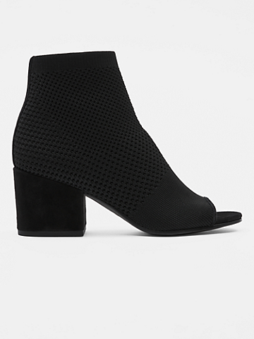 Croft Stretch Knit Open-Toe Bootie