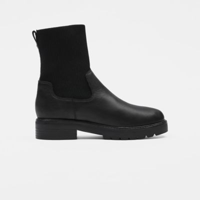 East Leather & Recycled Stretch Knit Sock Boot
