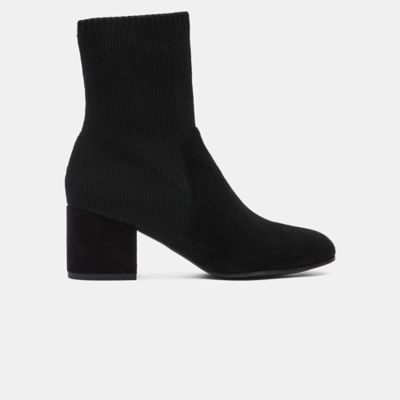 Knolls Suede & Recycled Stretch Knit Sock Boot