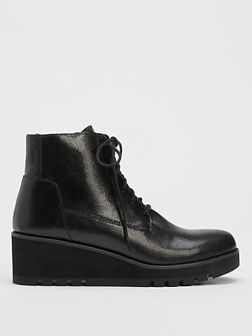 Crew Embossed Leather Lace-Up Bootie