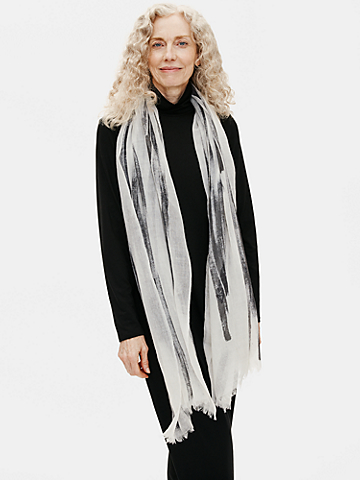 Hand-Painted Brushstrokes Wool Scarf
