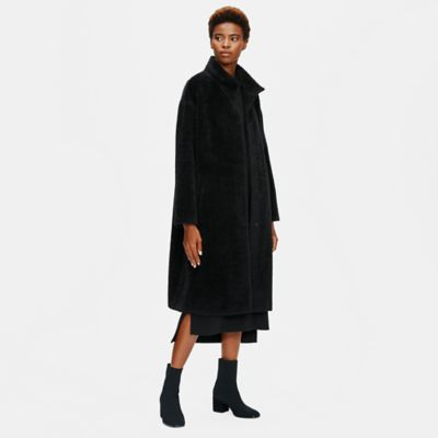 Sheared Suri Alpaca Stand Collar Coat