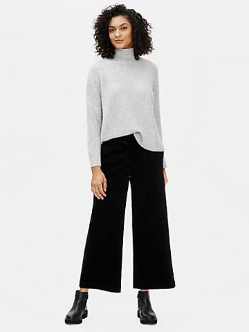 Cotton Corduroy Wide-Leg Ankle Pant