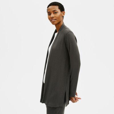 Textured Stretch Rib High Neck Jacket