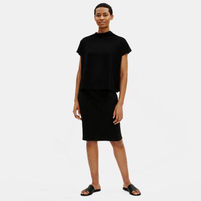 Textured Stretch Rib Pencil Skirt