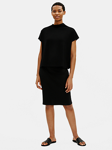 Textured Stretch Rib Pencil Skirt