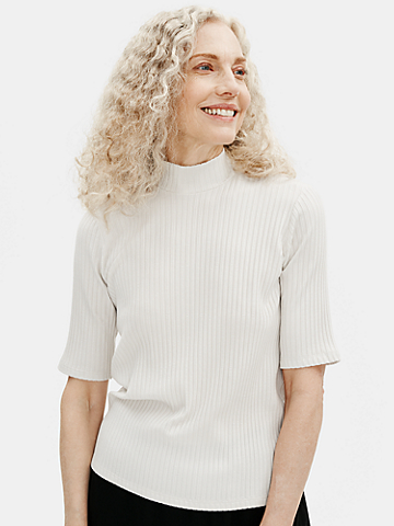 Textured Stretch Rib Mock Neck Top