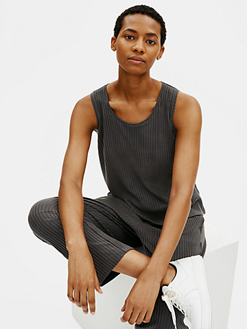 Textured Stretch Rib Scoop Neck Tank