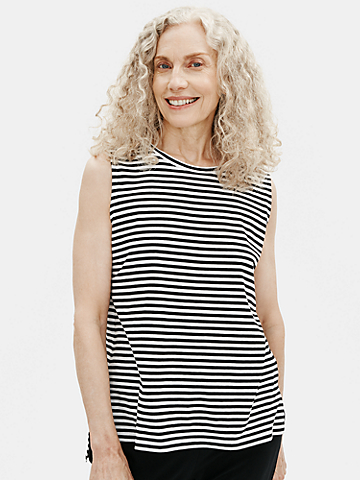 Organic Cotton Jersey Striped Crew Neck Tank