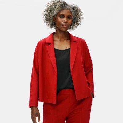 Soft Wool Flannel Notch Collar Jacket