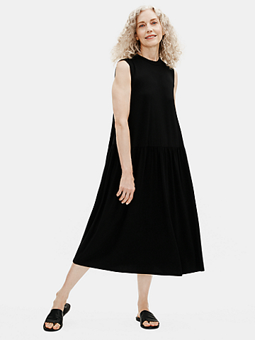 Fine Jersey Crew Neck Shirred Dress