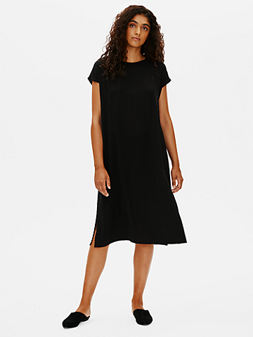 Silk Georgette Crepe Crew Neck Dress
