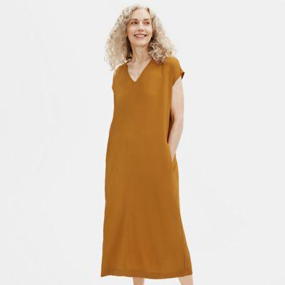 Textured Crepe Column Dress