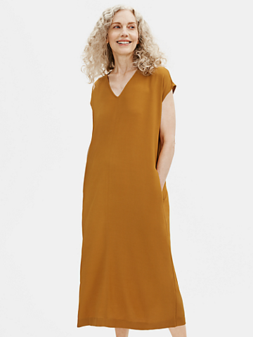 Textured Crepe Column Dress
