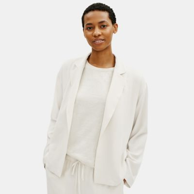 Textured Crepe Notch Collar Jacket
